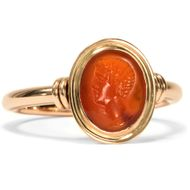 Antiker Intaglio: Caligula Caesar? 750 Rotgold Ring Carneol Gemme / Gold