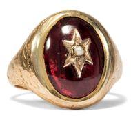England um 1865: Antiker GOLD RING Almandin Granat  & Perle / Victorian Liebe