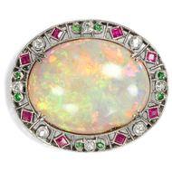 Phänomenale Opal Brosche, Platin Rubine Diamanten Demantoid, um 1910 / Brillant