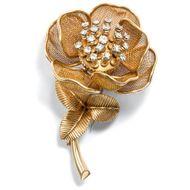 Um 1965: Erstklassige Piaget Diamant Zitter Brosche, Rose mit Diamanten Diamond