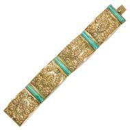 Stilvolle Amazonen - Prachtvolles Goldarmband mit Amazonit, um 1910. Photo © 2018 Hofer Antikschmuck Berlin