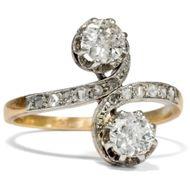 Toi-et-Moi Ring, 2 Diamanten im Altschliff in Platin & Gold, um 1905 / Verlobung