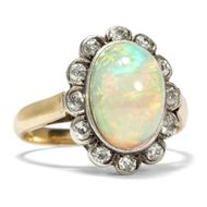 Antiker OPAL & Diamant RING: 750er Gold, Altschliff Diamanten Vollopal um 1900