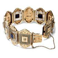 Verführerische Formen - Elegantes Armband aus Gold, Platin & Lapislazuli, um 1910. Photo © 2018 Hofer Antikschmuck Berlin