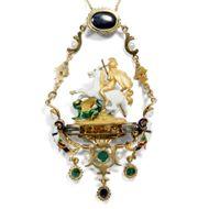 Mächte des Lichtes - Exquisites Collier im Holbein-Stil mit Saphiren, Smaragden & Diamanten, Italien um 2000. Photo © 2018 Hofer Antikschmuck Berlin