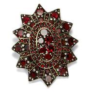 Um 1880: Antike Granat Stern Brosche, böhmische Granate / Garnet Star brooch