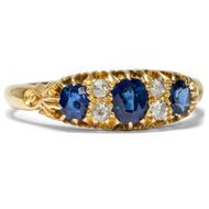 Um 1910: Diamant & Saphir RING in 750 Gold Saphire Diamanten / diamond sapphire