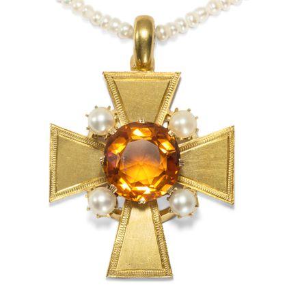 Leuchtender Glaube - Antiker Kreuz-Anhänger mit Citrin & Perlen in Gold, Großbritannien 1870er Jahre. Photo © 2018 Hofer Antikschmuck Berlin