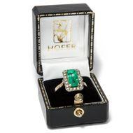 Es grünt so grün.. - Sinnlicher vintage Smaragd Ring aus Gold & Silber, um 1965. Photo © 2019 Hofer Antikschmuck Berlin