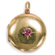 England um 1900: Medaillon ANHÄNGER. Gold, Rubin, Stern Victorian Locket