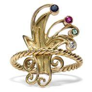 Kunstvolle Blumen - Expressiver Art-Déco-Ring mit Saphir, Rubin, Smaragd & Diamant, um 1928. Photo © 2018 Hofer Antikschmuck Berlin