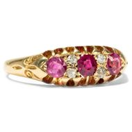 Datiert 1904: Antiker Rubin & Diamant RING in 750er Gold / Verlobungsring