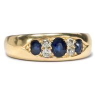 Antiker Saphir & Diamant RING Gold Diamanten gypsy ring edwardian Verlobungsring