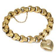 Um 1890: Armband aus 625 Gold, mit Herz Medaillon / Bracelet 15ct GOLD Locket