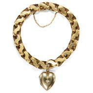 Heartbreaker - Antikes Goldarmband mit Herz-Medaillon, England um 1890. Photo © 2019 Hofer Antikschmuck Berlin