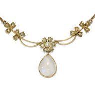 Antikes zartes Natur Perlen, Gold & Mondstein Collier, Großbritannien um 1890