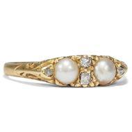Eleganter Natur Perlen & Diamant Ring, Großbritannien um 1890 / Brillanten
