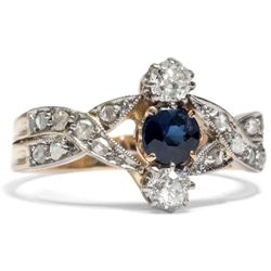 Antiker Saphir & Diamant Ring in Platin & 585 Gold, um 1910 / Verlobungsring