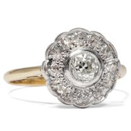 Um 1910: Antiker Diamant RING in Gold & Platin Diamanten Blüte Verlobungsring
