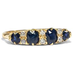 Datiert 1910: Antiker Saphir Diamant Ring in 750er Gold Verlobungsring edwardian