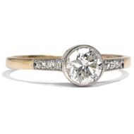 Um 1920: Antiker 750 Gold & Platin RING, 0,65 ct Diamant Solitär, Verlobungsring
