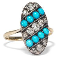 Um 1890: Antiker Gold RING mit Türkis & Diamanten, Diamanten, Turquoise Diamond
