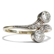 Toi & Moi um 1905: Antiker Diamant Ring in Gold & Platin Brillant Verlobungsring