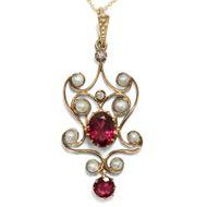 Jugendstil Anhänger aus Gold & Granaten, um 1905 Perle Art Nouveau Edwardian