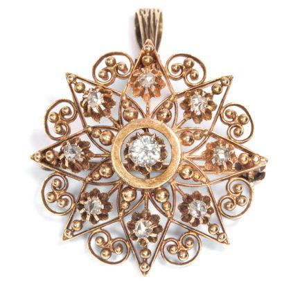 Sisis Sternchen - Zauberhafter Diamantstern als Brosche & Anhänger, Pforzheim um 1880. Photo © 2018 Hofer Antikschmuck Berlin