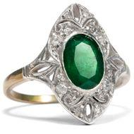 Smaragdliebe: Antiker Smaragd Diamant Silber & Gold Ring 1920er Jahre Art Déco