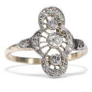 Um 1910: Antiker Ring mit Diamanten in Gold & Platin / Diamant Verlobungsring