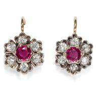 Ohrringe in Rubin und Diamant! Blüten Ohrringe aus Gold & Silber Brillanten RUBY