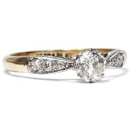 Um 1920: Antiker 0,45ct Diamant Solitär Ring, 750 Gold & Platin, Verlobungsring