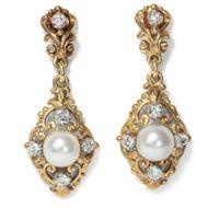 Antike Perl- & Diamant Ohrringe, 1930er Jahre 585 Gold Perle Schrauben Diamanten