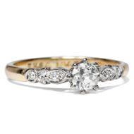Antiker Diamant 026ct Solitär Ring Gold & Platin Verlobungsring Brillant um 1930