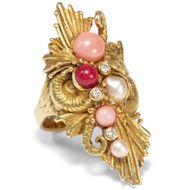 Vintage 750 Gold Ring mit Diamanten Perlen & Koralle Meer Unterwasser Handarbeit