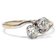 Um 1910: Antiker Toi et Moi RING aus Platin & 0,66 ct Diamanten Verlobung Gold