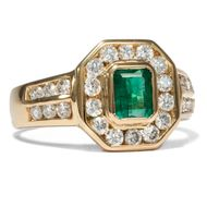 Eleganter vintage Goldring mit Smaragd & Diamanten, Emerald Diamond Ring