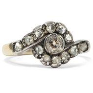 Um 1880: Antiker Gold & Silber Ring mit Diamanten / Rosenschliff Verlobungsring