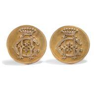 Um 1880: Große MANSCHETTENKNÖPFE 585 Gold Monogramm & Krone, Baron Cufflinks