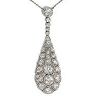 Großes Art Déco Collier: Diamanten Gold & Platin Collier um 1920 Anhänger Kette