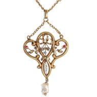 Wunderbares 750 Gold Perlen & Granat Collier, Frankreich um 1895 / Anhänger