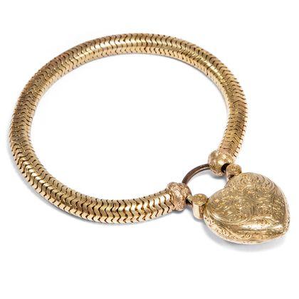 Ins Herz geschlossen - Viktorianisches Gold-Armband mit Herz-Medaillon, Großbritannien um 1855. Photo © 2018 Hofer Antikschmuck Berlin
