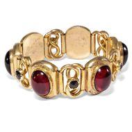 Frankreich um 1865: Antikes Tombak Armband mit Granat & Glaspasten Bracelet