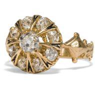 Der Zauber der Vergangenheit - Funkelnder Diamant-Ring des Historismus in Gold, um 1880. Photo © 2018 Hofer Antikschmuck Berlin