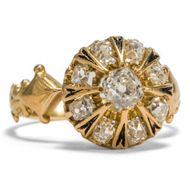 Historismus um 1880: Antiker Diamant Ring in Gold, Altschliff Diamanten 6 Email