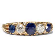 Trilogie Ring um 1900: Saphir & Diamant Ring 750er Gold, Verlobungsring