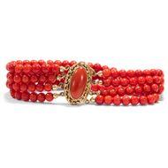 Breites Korallen Armband in 4 Reihen - italienische Koralle Gold Coral Bracelet