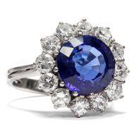 Vintage Entourage Ring, Weißgold, Diamanten & Tansanit Verlobungsring Brillanten