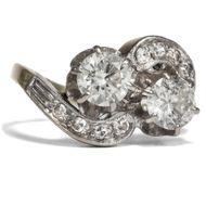 Vintage Toi et Moi Ring, Diamanten um 1950 Weißgold Diamant Verlobungsring
